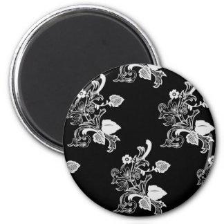 Estampado de flores negro y blanco del vintage imán