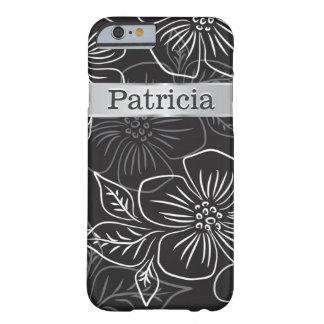 Estampado de flores negro y de plata personalizado funda de iPhone 6 barely there