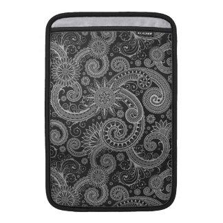 Estampado de flores negro y gris abstracto funda  MacBook