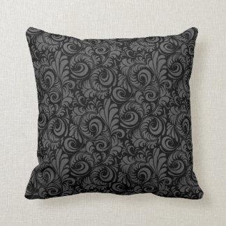 Estampado de flores negro y gris elegante cojín decorativo