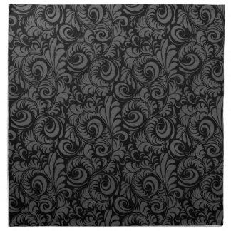 Estampado de flores negro y gris elegante servilletas de papel
