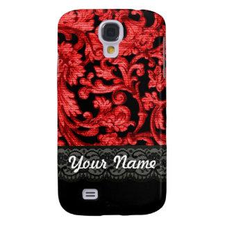 Estampado de flores negro y rojo del cordón funda samsung s4