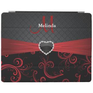 Estampado de flores negro y rojo elegante cubierta de iPad