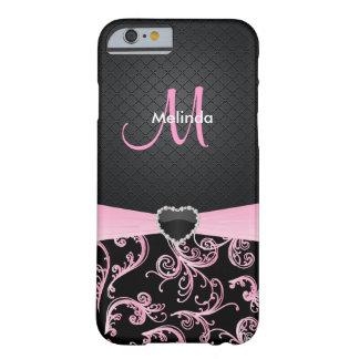 Estampado de flores negro y rosado elegante funda barely there iPhone 6
