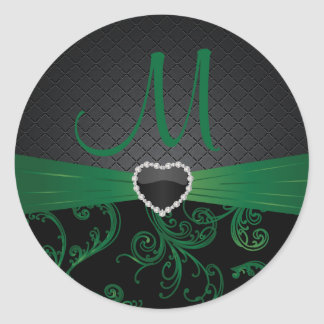 Estampado de flores negro y verde elegante pegatina redonda