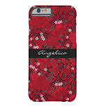 Estampado de flores oriental rojo del vintage funda de iPhone 6 barely there