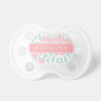 Estampado de flores personalizado de la menta y de chupetes para bebes