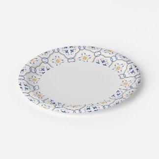 Estampado de flores platos de papel