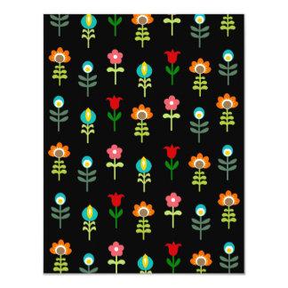 Estampado de flores popular retro invitación 10,8 x 13,9 cm