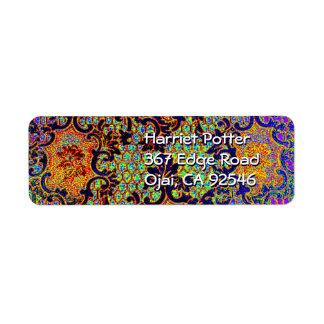 Estampado de flores psicodélico del papel pintado etiqueta de remitente