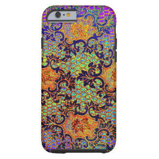 Estampado de flores psicodélico del papel pintado funda de iPhone 6 tough