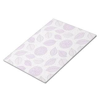 Estampado de flores púrpura bonito bloc de notas