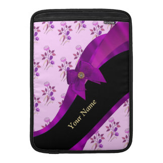 Estampado de flores púrpura bonito del vintage funda  MacBook