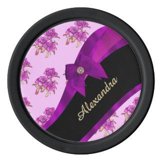 Estampado de flores púrpura de color de malva juego de fichas de póquer