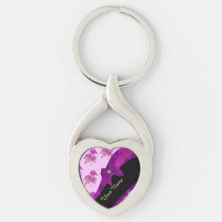 Estampado de flores púrpura de color de malva llavero plateado en forma de corazón