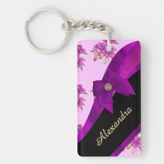 Estampado de flores púrpura de color de malva llavero rectangular acrílico a doble cara