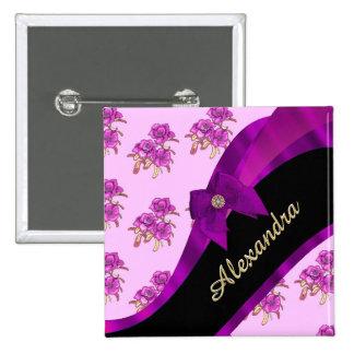 Estampado de flores púrpura de color de malva chapa cuadrada 5 cm