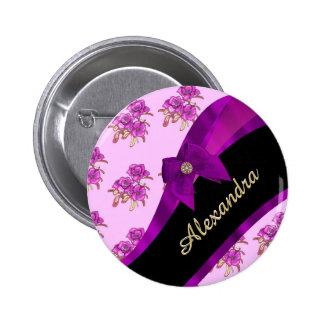 Estampado de flores púrpura de color de malva chapa redonda 5 cm