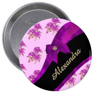 Estampado de flores púrpura de color de malva chapa redonda 10 cm