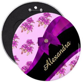 Estampado de flores púrpura de color de malva chapa redonda 15 cm