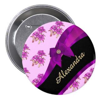 Estampado de flores púrpura de color de malva pin redondo de 3 pulgadas