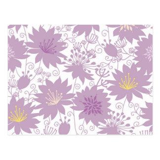 Estampado de flores púrpura de la sombra postales