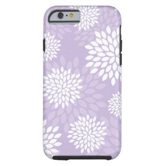 Estampado de flores púrpura de los crisantemos funda de iPhone 6 tough
