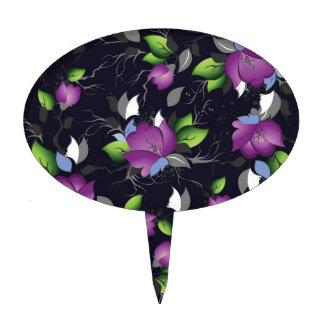 estampado de flores púrpura elegante, sele multi palillos de tarta