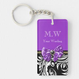 Estampado de flores púrpura negro del remolino de llavero rectangular acrílico a doble cara