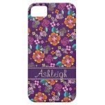Estampado de flores púrpura retro iPhone 5 Case-Mate cobertura