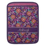 Estampado de flores púrpura retro manga de iPad