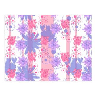 Estampado de flores púrpura rosado precioso postales