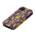 Estampado de flores púrpura y amarillo del Barroco iPhone 4 Funda