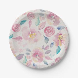 Estampado de flores púrpura y azul rosado platos de papel