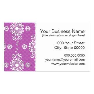 Estampado de flores púrpura y blanco brillante tarjetas de visita