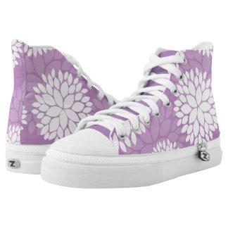 Estampado de flores púrpura y blanco zapatillas