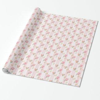 Estampado de flores rayado rosado rústico papel de regalo