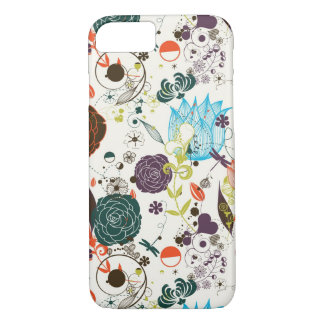 Estampado de flores retro 2 funda iPhone 7