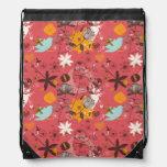 Estampado de flores retro mochilas
