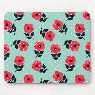 Estampado de flores rojo decorativo de la menta tapetes de raton