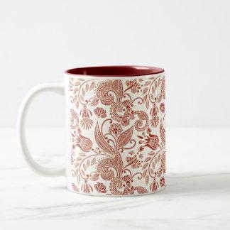 Estampado de flores rojo del indio taza de dos tonos