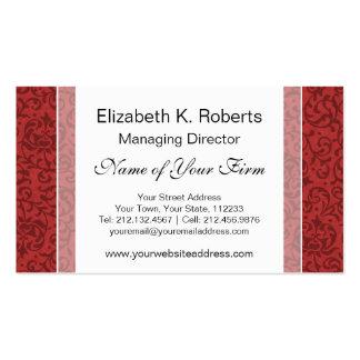 Estampado de flores rojo del vintage del jardín de tarjetas de visita