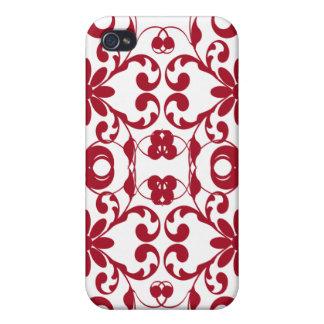 Estampado de flores rojo del vintage del nouveau d iPhone 4 carcasa