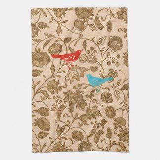Estampado de flores rojo moderno de los pájaros toallas