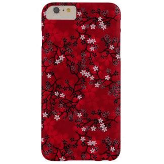 Estampado de flores rojo oriental del vintage funda para iPhone 6 plus barely there