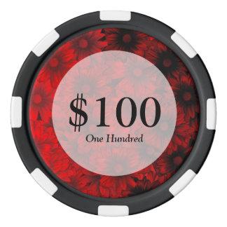 Estampado de flores rojo oscuro juego de fichas de póquer