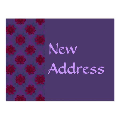 Estampado de flores rojo púrpura de la nueva postal