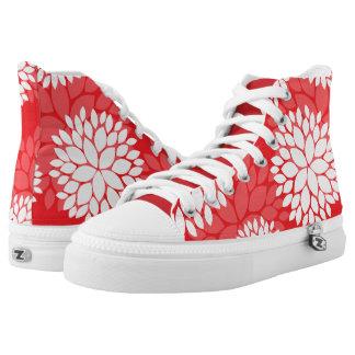 Estampado de flores rojo y blanco zapatillas