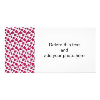 Estampado de flores rojo y gris de rubíes del vint tarjetas fotográficas personalizadas