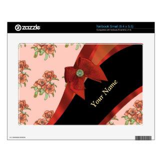 Estampado de flores rojo y rosado bonito del netbook pequeño calcomanía